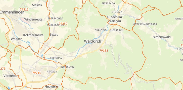Straßenkarte mit Hausnummern Waldkirch
