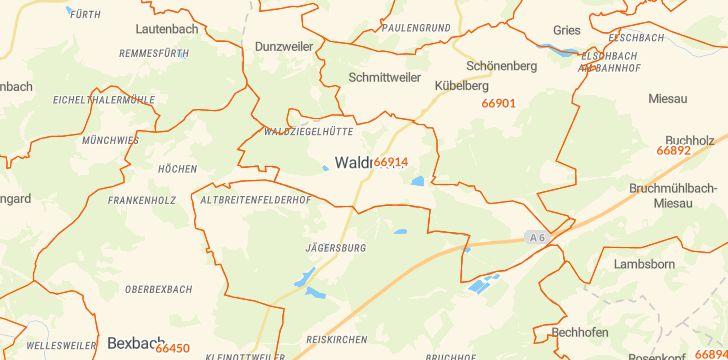 Straßenkarte mit Hausnummern Waldmohr