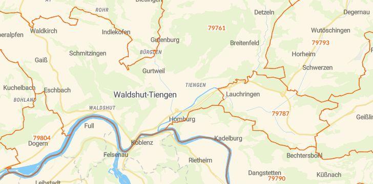 Straßenkarte mit Hausnummern Waldshut-Tiengen