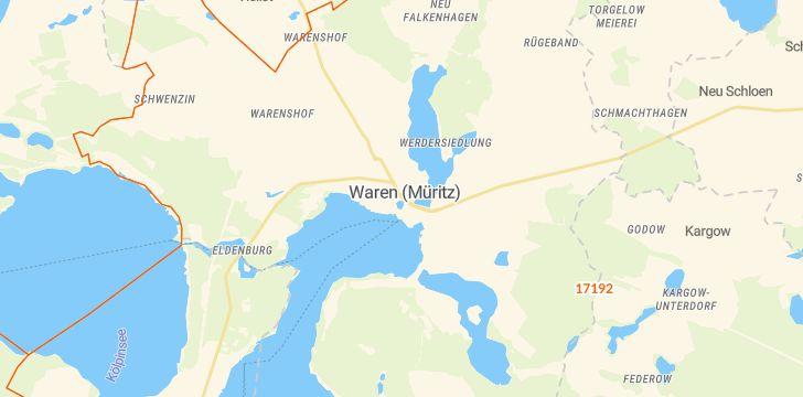 Straßenkarte mit Hausnummern Waren (Müritz)