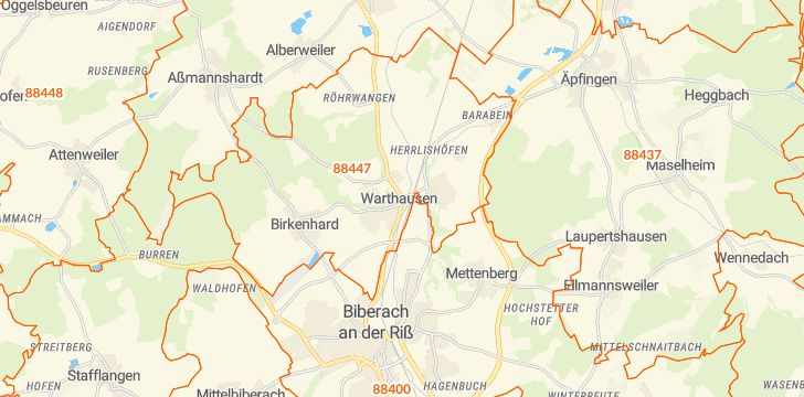 Straßenkarte mit Hausnummern Warthausen