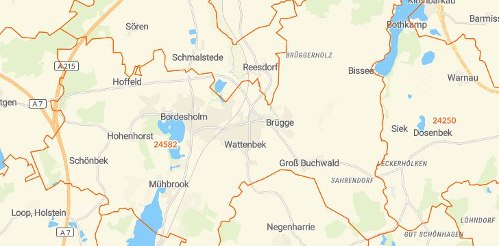 Straßenkarte mit Hausnummern Wattenbek