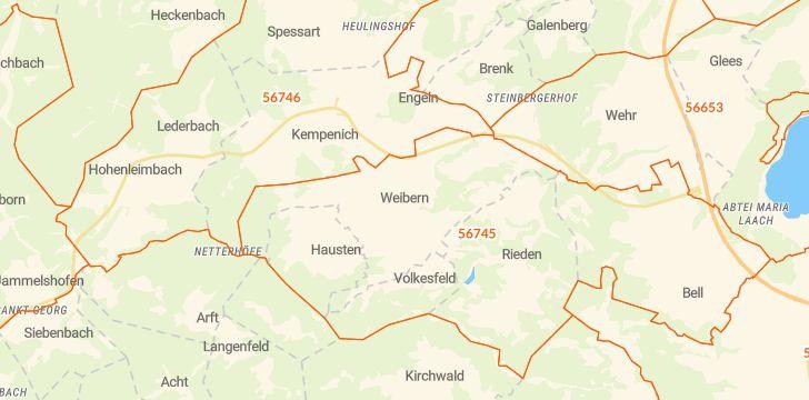 Straßenkarte mit Hausnummern Weibern