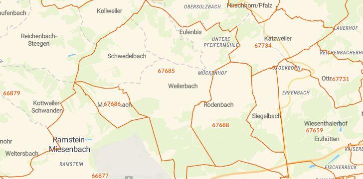 Straßenkarte mit Hausnummern Weilerbach