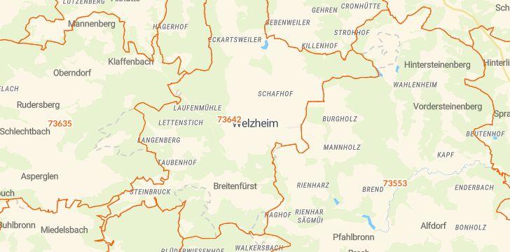 Straßenkarte mit Hausnummern Welzheim