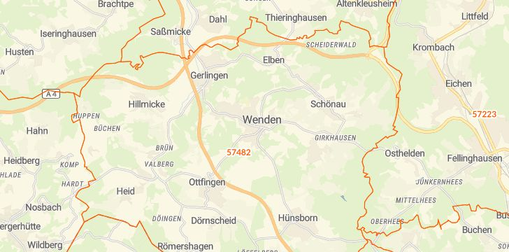 Straßenkarte mit Hausnummern Wenden (Sauerland)