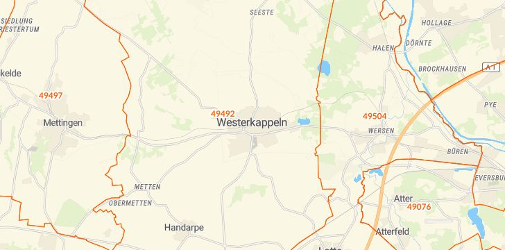 Straßenkarte mit Hausnummern Westerkappeln