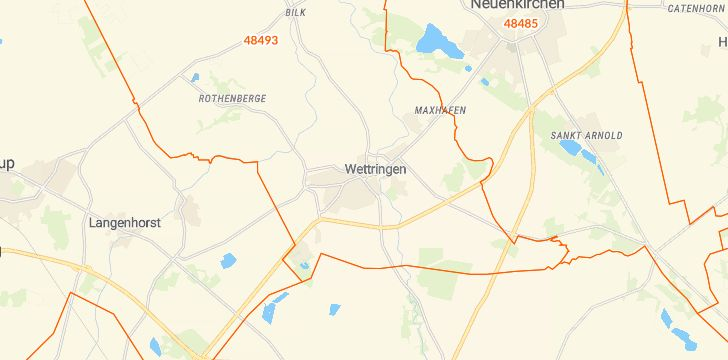 Straßenkarte mit Hausnummern Wettringen (Münsterland)