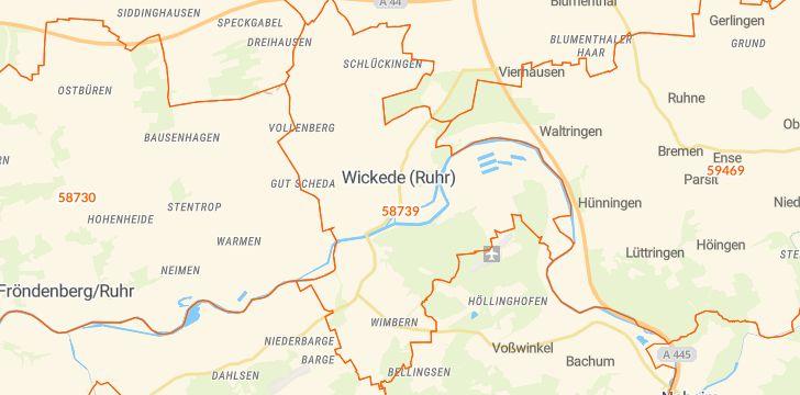 Straßenkarte mit Hausnummern Wickede (Ruhr)