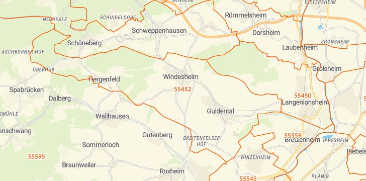Straßenkarte mit Hausnummern Windesheim