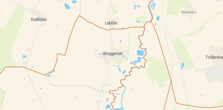 Straßenkarte mit Hausnummern Woggersin