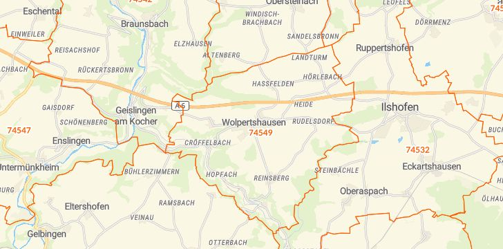 Straßenkarte mit Hausnummern Wolpertshausen