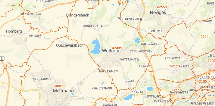 Straßenkarte mit Hausnummern Wülfrath