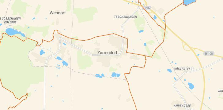 Straßenkarte mit Hausnummern Zarrendorf