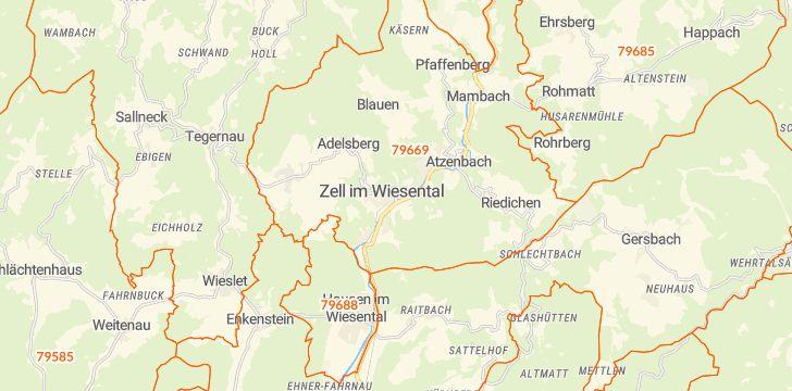 Straßenkarte mit Hausnummern Zell im Wiesental