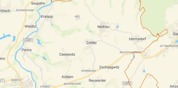 Straßenkarte mit Hausnummern Zettlitz