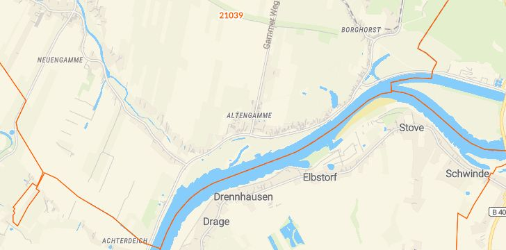 Straßenkarte mit Hausnummern Altengamme