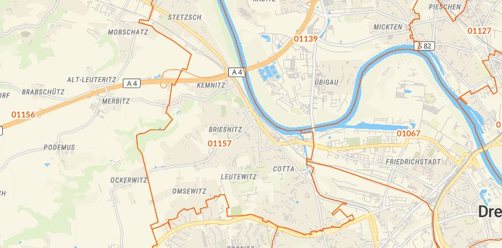 Straßenkarte mit Hausnummern Briesnitz