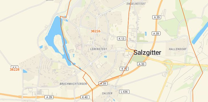 Straßenkarte mit Hausnummern Lebenstedt