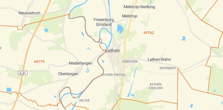 Straßenkarte mit Hausnummern Lathen