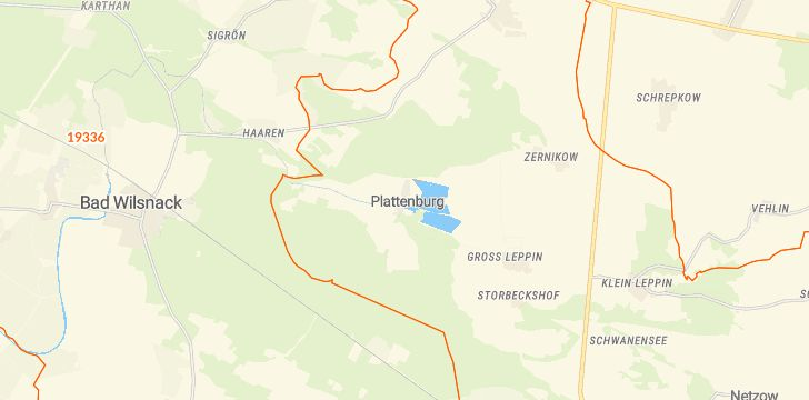 Straßenkarte mit Hausnummern Plattenburg