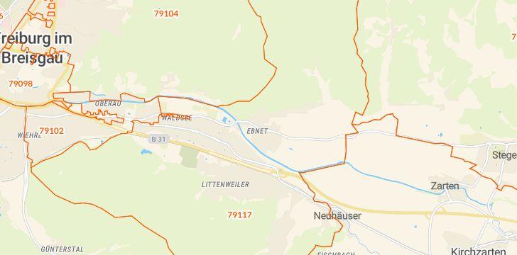 Straßenkarte mit Hausnummern Ebnet