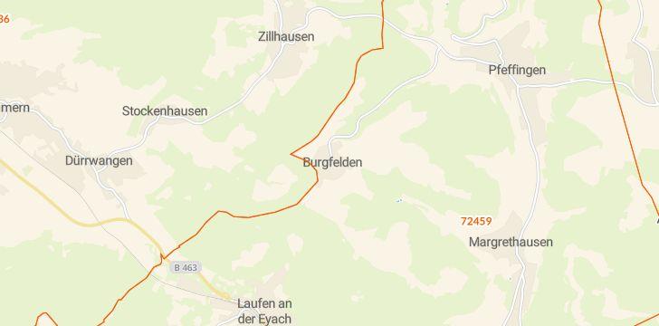 Straßenkarte mit Hausnummern Burgfelden
