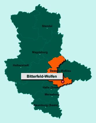 Die Karte von Bitterfeld-Wolfen zeigt die Lage im Landkreis Anhalt-Bitterfeld - Der Ort Bitterfeld-Wolfen liegt im Bundesland Sachsen-Anhalt