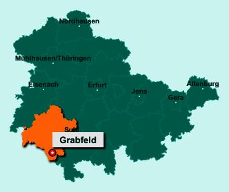 Der Lageplan von Grabfeld zeigt die Position im Landkreis Schmalkalden-Meiningen - Der Ort liegt im Bundesland Thüringen