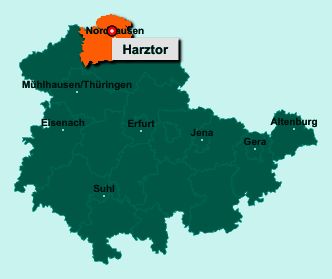 Die Karte von Harztor zeigt die Lage im Landkreis Nordhausen - Der Ort 99768 Harztor liegt im Bundesland Thüringen