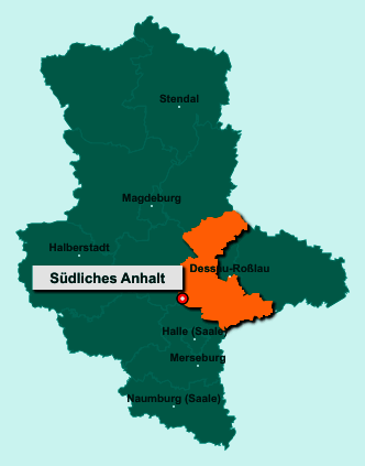 Die Karte von Südliches Anhalt zeigt die Lage im Landkreis Anhalt-Bitterfeld - Der Ort Südliches Anhalt liegt im Bundesland Sachsen-Anhalt