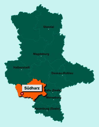 Der Lageplan von 06536 Südharz zeigt die Position im Landkreis Mansfeld-Südharz - Der Ort liegt im Bundesland Sachsen-Anhalt