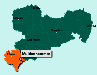 Die Karte von Muldenhammer zeigt die Lage im Vogtlandkreis - Der Ort 08262 Muldenhammer liegt im Bundesland Sachsen