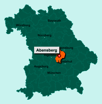 Die Karte von Abensberg zeigt die Lage im Landkreis Kelheim - Der Ort 93326 Abensberg liegt im Bundesland Bayern