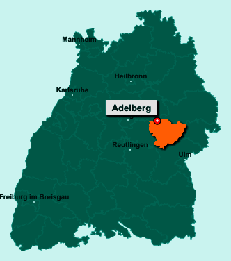 Die Karte von Adelberg zeigt die Lage im Landkreis Göppingen - Der Ort 73099 Adelberg liegt im Bundesland Baden-Württemberg