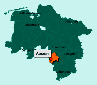 Die Karte von Aerzen zeigt die Lage im Landkreis Hameln-Pyrmont - Der Ort 31855 Aerzen liegt im Bundesland Niedersachsen
