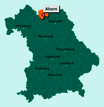 Der Lageplan von 96482 Ahorn zeigt die Position im Landkreis Coburg - Der Ort liegt im Bundesland Bayern