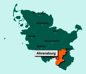 Die Karte von Ahrensburg zeigt die Lage im Kreis Stormarn - Der Ort 22926 Ahrensburg liegt im Bundesland Schleswig-Holstein