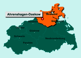 Der Lageplan von 18320 Ahrenshagen-Daskow zeigt die Position im Landkreis Vorpommern-Rügen - Der Ort liegt im Bundesland Mecklenburg-Vorpommern