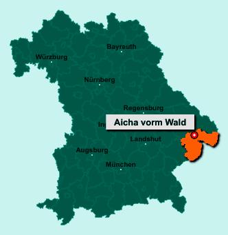 Die Karte von Aicha vorm Wald zeigt die Lage im Landkreis Passau - Der Ort 94529 Aicha vorm Wald liegt im Bundesland Bayern