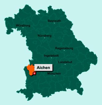 Die Karte von Aichen zeigt die Lage im Landkreis Günzburg - Der Ort 86479 Aichen liegt im Bundesland Bayern
