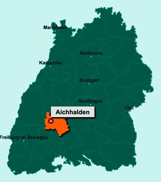 Die Karte von Aichhalden zeigt die Lage im Landkreis Rottweil - Der Ort 78733 Aichhalden liegt im Bundesland Baden-Württemberg