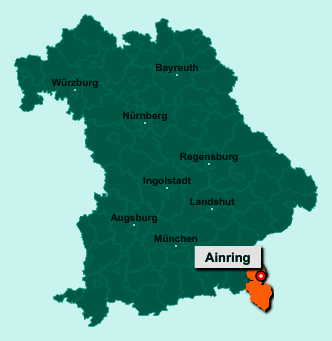Die Karte von Ainring zeigt die Lage im Landkreis Berchtesgadener Land - Der Ort 83404 Ainring liegt im Bundesland Bayern