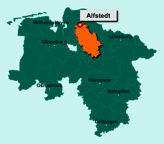 Die Karte von Alfstedt zeigt die Lage im Landkreis Rotenburg (Wümme) - Der Ort 27432 Alfstedt liegt im Bundesland Niedersachsen