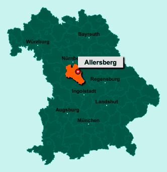 Der Lageplan von 90584 Allersberg zeigt die Position im Landkreis Roth - Der Ort liegt im Bundesland Bayern