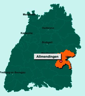 Die Karte von Allmendingen zeigt die Lage im Alb-Donau-Kreis - Der Ort 89604 Allmendingen liegt im Bundesland Baden-Württemberg
