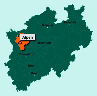 Die Karte von Alpen zeigt die Lage im Kreis Wesel - Der Ort 46519 Alpen liegt im Bundesland Nordrhein-Westfalen