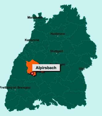 Die Karte von Alpirsbach zeigt die Lage im Landkreis Freudenstadt - Der Ort 72275 Alpirsbach liegt im Bundesland Baden-Württemberg