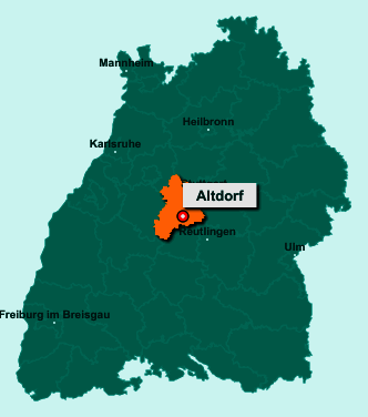 Der Lageplan von 71155 Altdorf zeigt die Position im Landkreis Böblingen - Der Ort liegt im Bundesland Baden-Württemberg