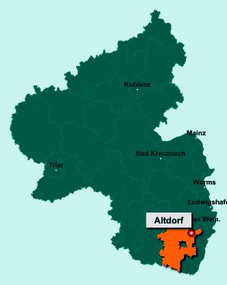 Die Karte von Altdorf zeigt die Lage im Landkreis Südliche Weinstraße - Der Ort 67482 Altdorf liegt im Bundesland Rheinland-Pfalz